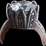 Vintage Art Deco Sterling Marcasite Diamond Paste Ring