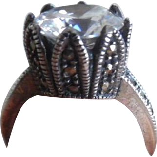 Vintage Art Deco Sterling Marcasite Diamond Paste Ring