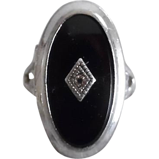 Antique Edwardian Sterling Onyx Diamond Ring