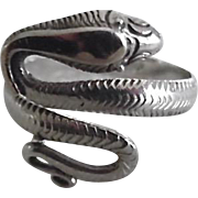 Vintage Sterling Silver Coiled Snake Ring