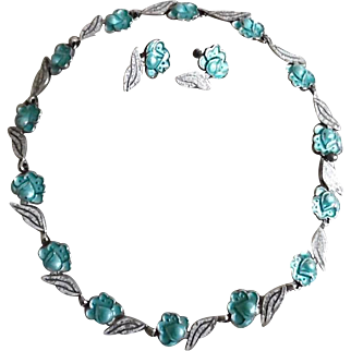 Vintage Margot De Taco Sterling Silver Aqua & White Enamel Necklace & Earring Set