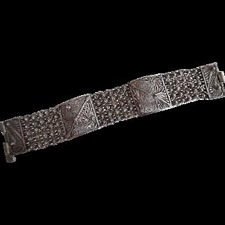 Vintage Wide 800 Silver Cannetille Bracelet