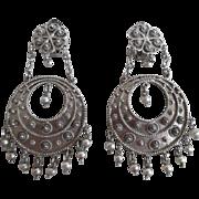 Vintage 900 Silver Cannetille Big Dangle Clip On Earrings