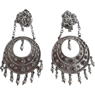 Vintage 900 Silver Cannetille Big Dangle Clip On Earrings