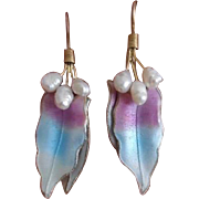 Vintage Sterling Vermeil Enamel Cultured Pearl Earrings