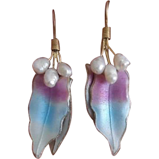 Vintage Sterling Vermeil Enamel Cultured Pearl Earrings