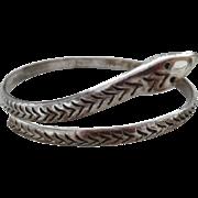 Vintage Sterling Mexican Coiled Snake Bangle Bracelet