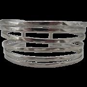 Vintage Sterling Silver Wide Banded Cuff Bracelet
