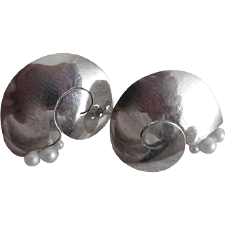 Beautiful Vintage Sterling Silver Cultured Pearl Chambered Nautilus Large Earrings