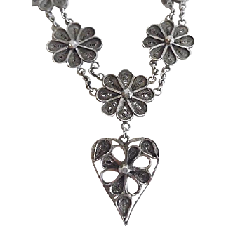 Antique Sterling Silver Marcasite Cannetille Heart & Flower Necklace