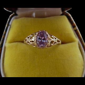 Vintage 10K Yellow Gold Lavender Kunzite Ring