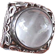 Fabulous Big Moonstone 800 Silver Filigree Ring