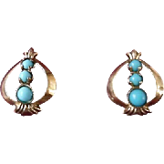 Antique Victorian Rolled Gold Faux Turquoise Earrings