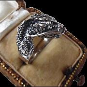 Vintage Sterling Silver unisex Dragon Ring