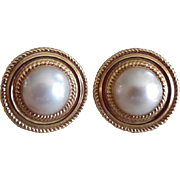 Lovely Big 14K Cultured Made Pearl Post Earrings
