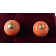 Antique Victorian Pair of 14K Salmon Coral Buttons
