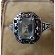 Vintage Sterling Silver Blue Topaz Filagree Ring