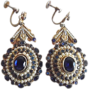 Antique Large Austro-Hungarian Style Faux Pearl Sapphire Earrings
