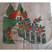 Vintage 1930-40's Vogue NY Embroidered Pillow Cover Never Used