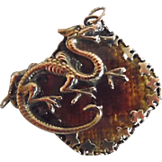 Antique Victorian Gold Plated Amber Glass Dragon Watch Fob