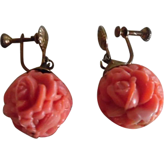 Vintage Faux Carved Coral Glass Screw Back Earrings 1920's