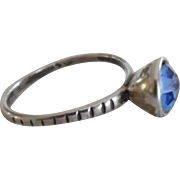 Vintage Sterling Silver Sapphire Paste Solitaire Ring