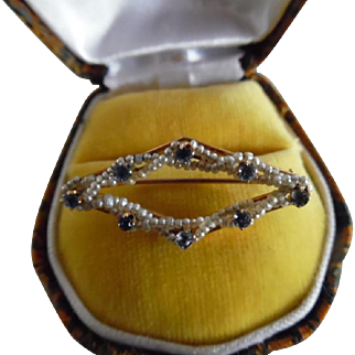 Vintage 10K Yellow Gold Sapphire Seed Pearl Pin