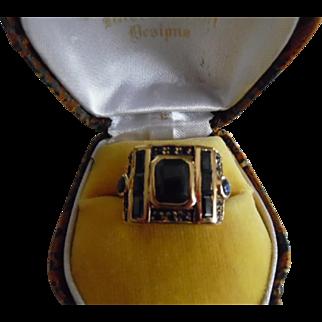 Vintage Sterling Silver 18K Plated Deep Topaz Ring