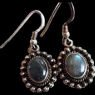 Vintage Sterling Silver Labradorite Dangle Earrings