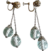 1920's Flapper Green Faceted Crystal Dangle Screw Back Earrings