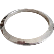 Vintage Mexican Sterling Silver Beveled Bangle Bracelet Signed