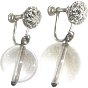 Vintage Art Deco Crystal Glass Pools of Light Screw Back Earrings