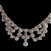 Vintage Open Back Crystal Glass Festoon Necklace