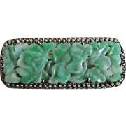 Vintage Chinese Carved Jade Glass Silver Metal Pin