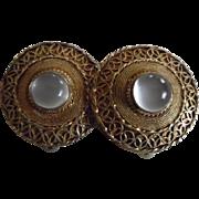 Vintage Chinese Silver Vermeil Moonstone Clip On Earrings
