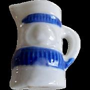 Vintage Miniature Dollhouse Blue & White Cameo Pitcher