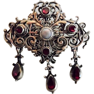 Antique Austro-Hungarian 830 Silver Gold Wash Garnet Natural Pearl Pin/Pendant