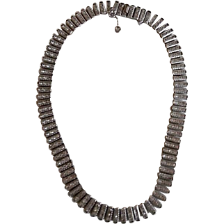 Vintage 1940's Art Deco Sterling Rhinestone Necklace Signed Catamore