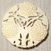 Antique Chinese Asian Carved Bone Chrysanthemum Pin