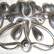 Vintage Sterling Silver Floral Nouveau Pin