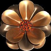 Vintage Big 1960's Colored Aluminum Rhinestone Flower Pin