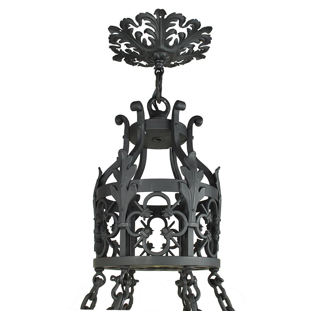 Antique lighting port townsend : Large light chandelier vintage cast wrought iron
