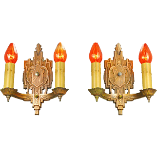 Art Deco Wall Sconces Vintage Bare Bulb Candle Style 1930s Lights (ANT-220)