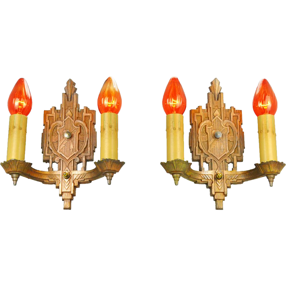 Art Deco Wall Sconces Vintage Bare Bulb Candle Style 1930s