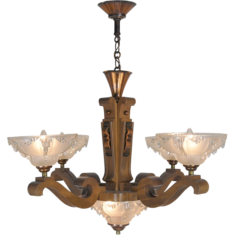 Wood Arm Art ~ Art deco french ezan style icicle chandelier with arm