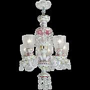 Lovely Bohemian Pink & White Art Glass Cut Chandelier Circa 1920-30 (ANT-428)