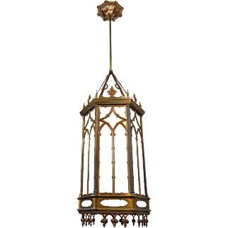 Gothic Victorian Large Pendants Circa 1910 Ceiling Lights Fixtures (ANT-520)