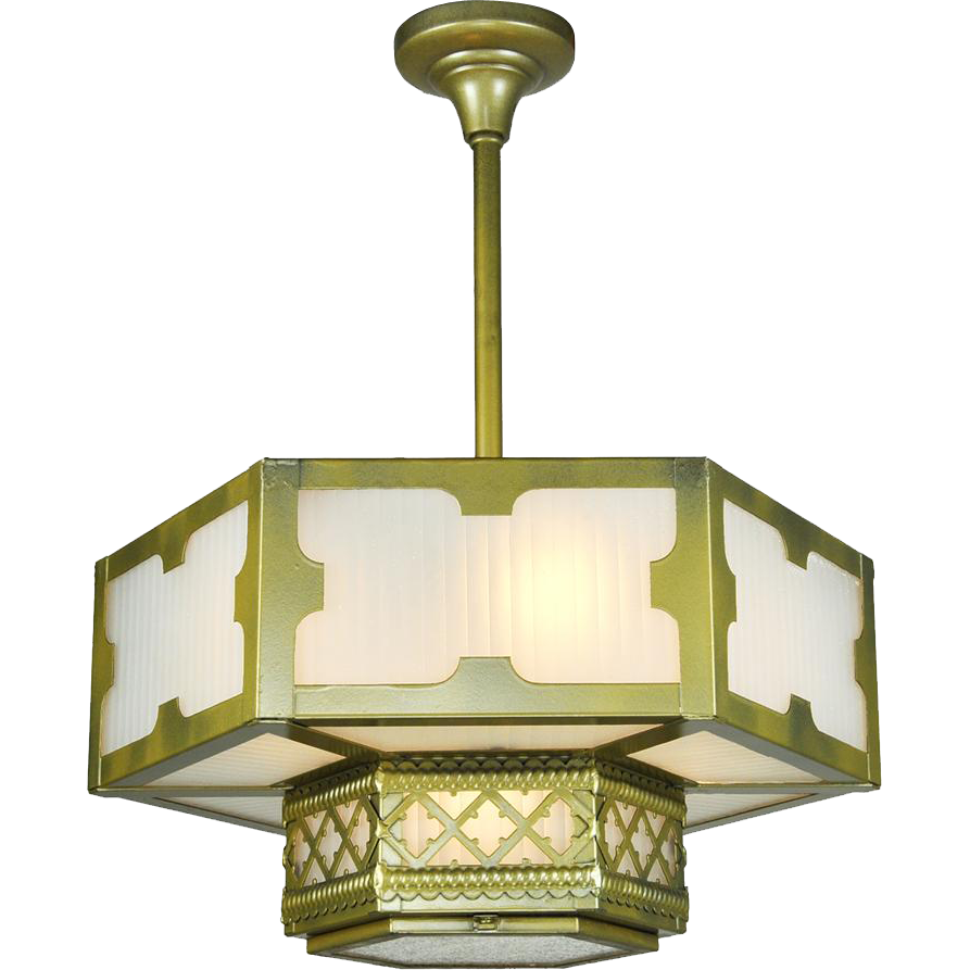 Arts and crafts light fixtures - Arts And Crafts Gothic Style Hexagonal Ceiling Panel Light Chandelier Ant 542