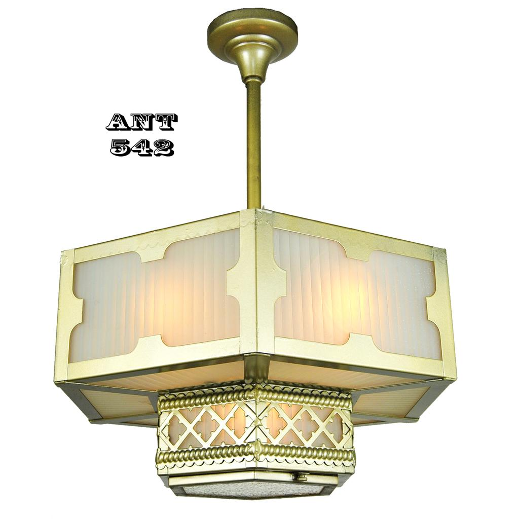 Roll over Large image to magnify click Large image to zoom  sc 1 st  Ruby Lane & Arts and Crafts Gothic Style Hexagonal Ceiling Panel Light ... azcodes.com