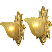 Art Deco 1930s Slip Shade Wall Sconces Old Gold Finish Light Fixtures (ANT-553)